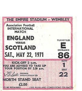 England v Scotland 1971 International Match (Ticket)