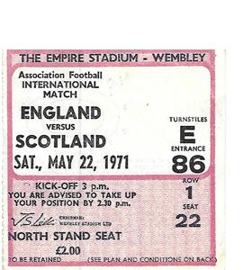 England v Scotland 1971 International Match (Ticket)