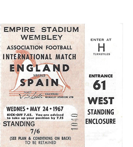 England v Spain 1967 International Match (Ticket)