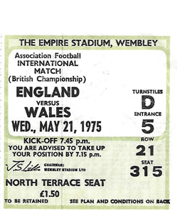 England v Wales 1975 Home Internationals (Ticket)