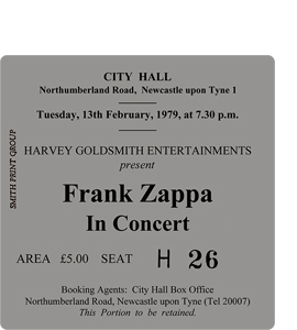 Frank Zappa City Hall Ticket (Coaster)