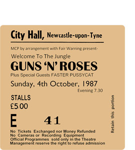 Guns N' Roses City Hall Ticket (Coaster)