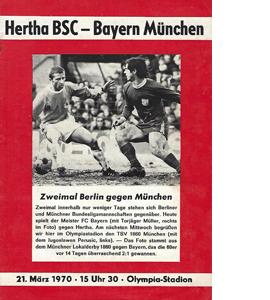 Hertha BSC v Bayern Munich 1969/70 Bundesliga (Programme)