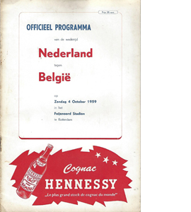 Holland v Belgium 1959 International Match (Programme)