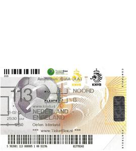 Holland v England 2002 International Match (Ticket)