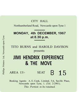 Jimi Hendrix Experience City Hall Ticket (Coaster)