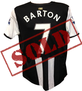 Joey Barton Newcastle United 2011/12 Home Shirt (Match-Worn)