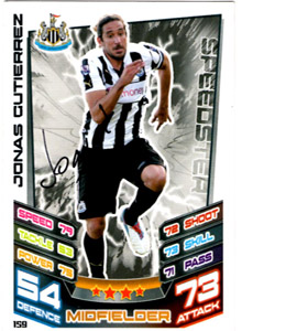 Jonas Gutierrez Newcastle United Match Attax Trade Card (Signed)