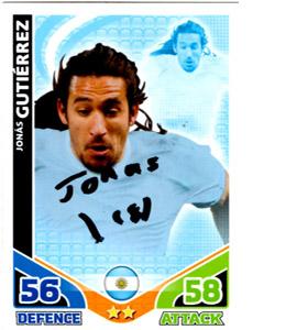 Jonas Gutierrez Argentina Match Attax Trade Card (Signed)
