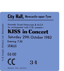 Kiss City Hall Ticket (Coaster)