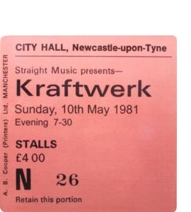 Kraftwerk City Hall Ticket (Coaster)