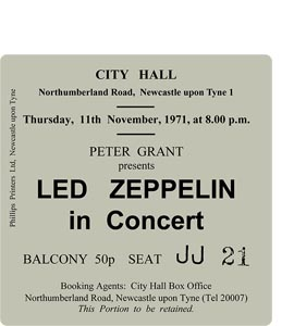 Led Zeppelin City Hall Ticket (Coaster)