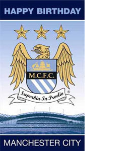 Manchester City Happy Birthday Crest Greeting Card