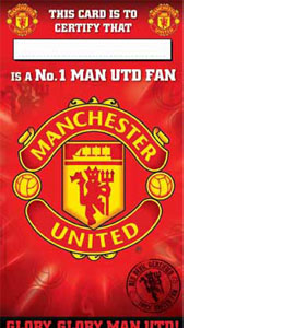 Manchester Utd No. 1 Fan Certificate Birthday Greeting Card