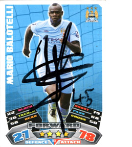 Mario Balotelli Manchester City Match Attax Trade Card (Signed)
