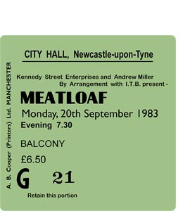 Meatloaf City Hall Ticket (Coaster)