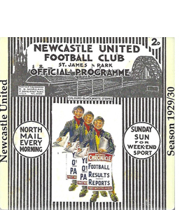 NEWCASTLE UNITED 1929/30 FOOTBALL PROGRAMME COVER (CERAMIC COAST
