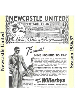 NEWCASTLE UNITED 1936/37 FOOTBALL PROG COVER (CERAMIC COASTER)