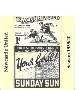 NEWCASTLE UNITED 1939/40 FOOTBALL PROG COVER (CERAMIC COASTER)