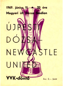 Ujpest Dozsa v Newcastle Utd Fairs Cup Final 2nd Leg (Postcard)