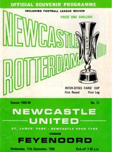 Newcastle Utd v Feyenoord Fairs Cup 1st Rnd 1st Leg (Postcard)