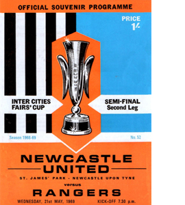 Newcastle Utd v Rangers Fairs Cup S/F 2nd Leg (Postcard)