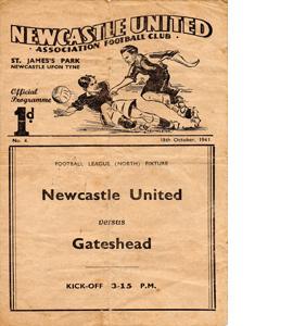 Newcastle United v Gateshead 41/42 Wartime (Programme)