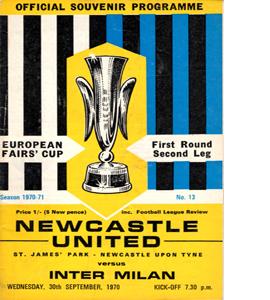Newcastle United v Inter Milan 70/71 (Programme)