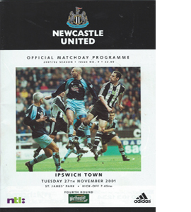 Newcastle United v Ipswich - League Cup 01/02 (Programme)