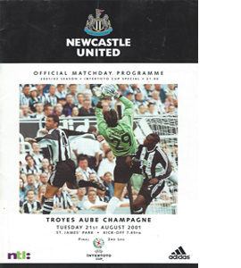 Newcastle United v Troyes - Intertoto Cup 01/02 (Programme)