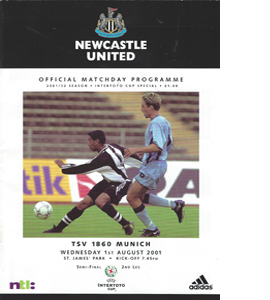 Newcastle United v 1860 Munich - Intertoto Cup 01/02 (Programme)