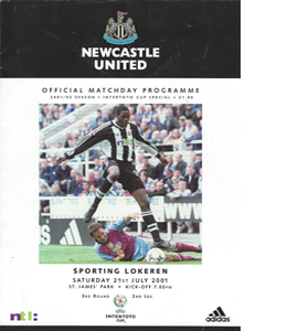 Newcastle United v Lokeren - Intertoto Cup 01/02 (Programme)