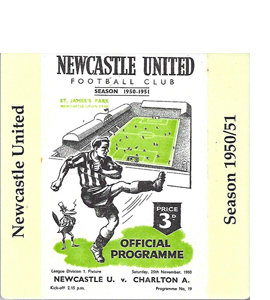 Newcastle United 1950/51 Football Programme (Ceramic Coaster)