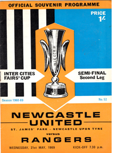 Newcastle v Rangers 68/69 Fairs Cup Semi-Final (Programme)