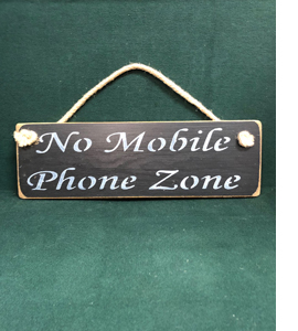 No Mobile Phone Zone (Wooden Sign)