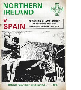 Northern Ireland v Spain 1972 Euro Qualifier (Programme)