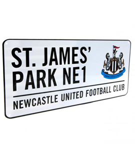 Official Newcastle United Street Sign (White)