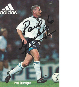 Paul Gascoigne England Sponsor Card (Signed)