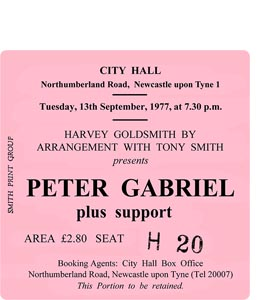Peter Gabriel City Hall Ticket (Coaster)