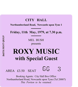 Roxy Music City Hall Ticket (Coaster)