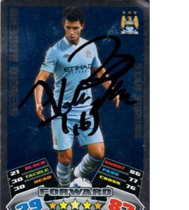 Sergio Aguero Manchester City Match Attax Trade Card (Signed)