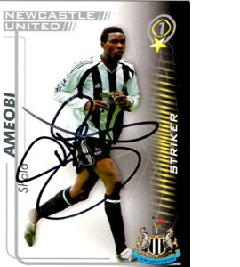 Shola Ameobi Newcastle United Shoot Out Trade Card (Signed)