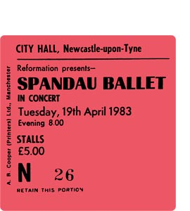 Spandau Ballet City Hall Ticket (Coaster)