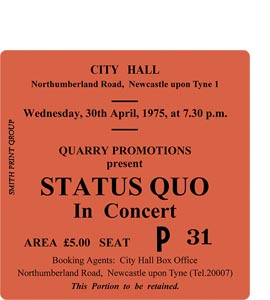 Status Quo City Hall Ticket (Coaster)