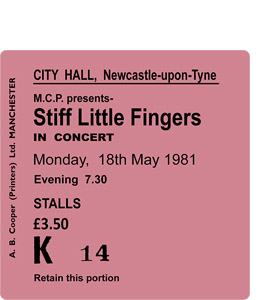 Stiff Little Fingers City Hall Ticket (Coaster)