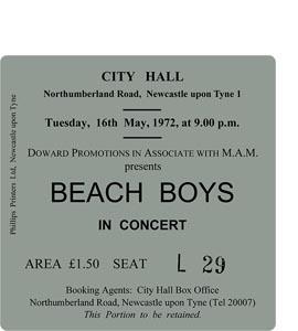 The Beach Boys City Hall Ticket (Coaster)
