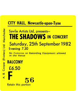 The Shadows City Hall Ticket (Coaster)
