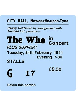 The Who City Hall Ticket (Coaster)