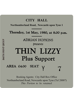 Thin Lizzy City Hall Ticket (Coaster)