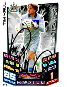 Tim Krul Newcastle United Match Attax Trade Card (Signed)